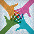Happy colorful hands on the waved background team symbol Stock Photos