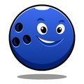 Happy colourful blue cartoon bowling ball Royalty Free Stock Images