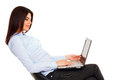 Happy confident woman with laptop Royalty Free Stock Photo
