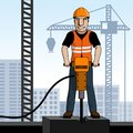 Happy construction worker hammering concrete with jackhammer. Royalty Free Stock Photo