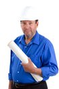 Happy contractor and smiling elderly holds blueprints and wears a hardhat as he works into his retirement years Royalty Free Stock Images