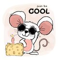 Happy cool cute white pink mice or mouse wears Sun Glasses with cheese cake and candle, just be cool and happy word in background