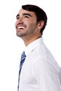 Happy corporate male looking upwards cheerful young businessman at something Stock Image