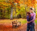 Happy couple in autumn Stock Photo