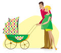 Happy Couple with Baby Stroller Stock Photos