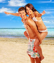 Happy couple at beach summer outdoor Stock Photography
