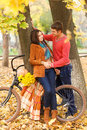 Happy couple with bicycle walking in autumn park young Royalty Free Stock Photography