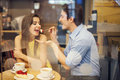 Happy couple in cafe romantic dating the Stock Image