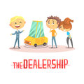 Happy couple with car dealer in auto show or salon. Colorful character vector Illustration