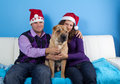 Happy couple celebrating christmas Royalty Free Stock Photos