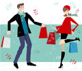 Happy Couple Christmas Shopping Royalty Free Stock Photos