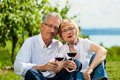 Happy couple drinking wine at lake in summer Stock Photos