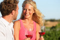 Happy couple drinking wine in sunset red or rose glasses at vineyard romantic enjoying glass of smiling in love Stock Photography