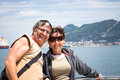 Happy couple enjoying boat trip middle aged summer in gibraltar uk Royalty Free Stock Images