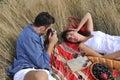 Happy couple enjoying countryside picnic Royalty Free Stock Photo