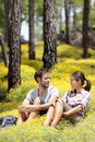 Happy couple in forest Stock Photos