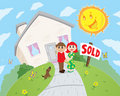 Happy couple in front of sold/purchased house. Royalty Free Stock Photo