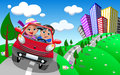 Happy couple going on a day trip outdoor illustration featuring bob and meg in red small cartoon coupe car taking eps file is Stock Photo