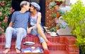 Happy couple having breakfast on the terrace Royalty Free Stock Photo