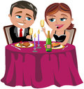 Happy couple having romantic dinner illustration featuring bob and meg a in restaurant or home isolated on white background you Royalty Free Stock Photography