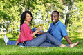 Happy couple having wine in park Stock Photography