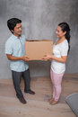 Happy couple holding a cardboard moving box in their new home Royalty Free Stock Image