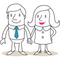 Happy couple holding hands vector illustration of a monochrome cartoon character Royalty Free Stock Images