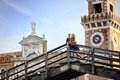 Happy couple in honeymoon in Venice, Italy Royalty Free Stock Photo
