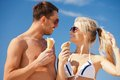 Happy couple with ice cream bright picture of Royalty Free Stock Image