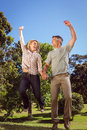 Happy couple jumping in the park Royalty Free Stock Photo