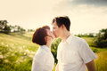 Happy couple kissing outdoor Royalty Free Stock Photo