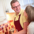 Happy Couple in the Kitchen Royalty Free Stock Image