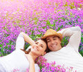 Happy couple on lavender field Royalty Free Stock Photo