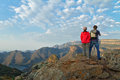 Happy couple looking at beautiful view of blyde river canyon travel in south africa Royalty Free Stock Image