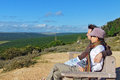 Happy couple looking at beautiful view of kruger national park travel in south africa Royalty Free Stock Image
