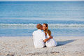 Happy couple in love having fun on the beach Royalty Free Stock Images