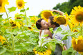 Happy couple in love having fun in field full of sunflowers Royalty Free Stock Photo