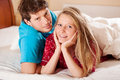 Happy couple in the morning after wake up Royalty Free Stock Images