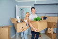 Happy couple in a new apartment for a housewarming Royalty Free Stock Photo