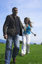 Happy couple outdoor running Royalty Free Stock Photo