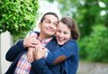 Happy couple outdoors having fun Stock Images