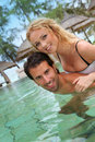 Happy couple in resort Stock Photo