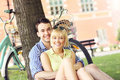 Happy couple resting in the park Royalty Free Stock Photo