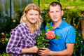 Happy couple with a rose Royalty Free Stock Photo