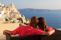 Happy couple on santorini vacation young in greece Royalty Free Stock Photography