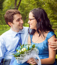 Happy couple sharing a romantic intimate moment Royalty Free Stock Photography