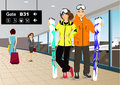 Happy couple skiers standing at the train station