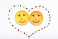 Happy couple smile, heart, food background. Top view, flat lay Royalty Free Stock Photo