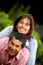 Happy couple smiling outdoors Stock Photography
