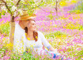Happy couple in summer garden spending time beautiful blooming wife and husband hugging outdoors romantic date love concept Stock Photos